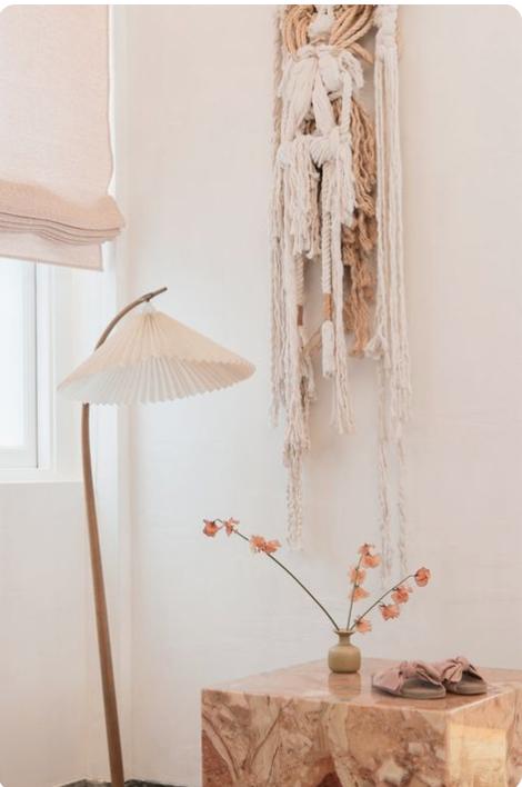ulla johnsons NY store, modern woven wall hanging, modern bohemian interiors