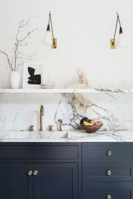 modern kitchen design, open shelving, modern marble