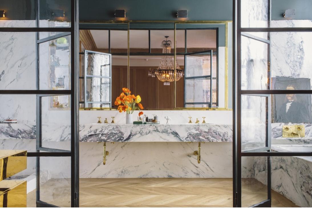 Jenna Lyons Soho Bath, Modern Marble Trends