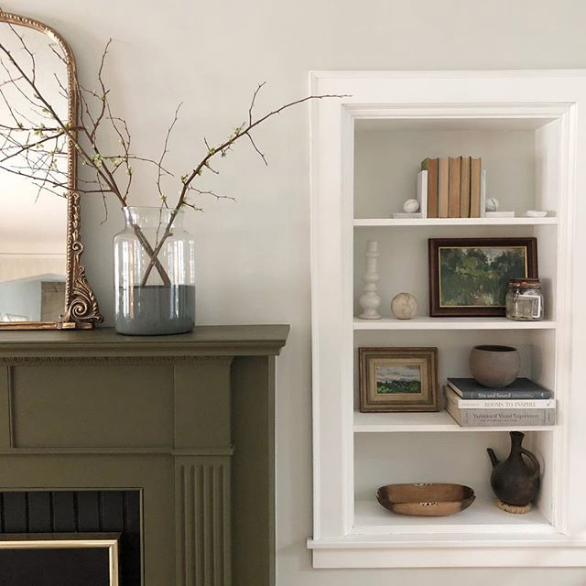 green accent color, green color trend 2019, green fireplace