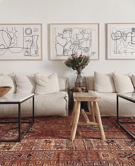 get the look: surfrider malibu, coastal modern beach house decor, vintage rug, modern bohemian interiors