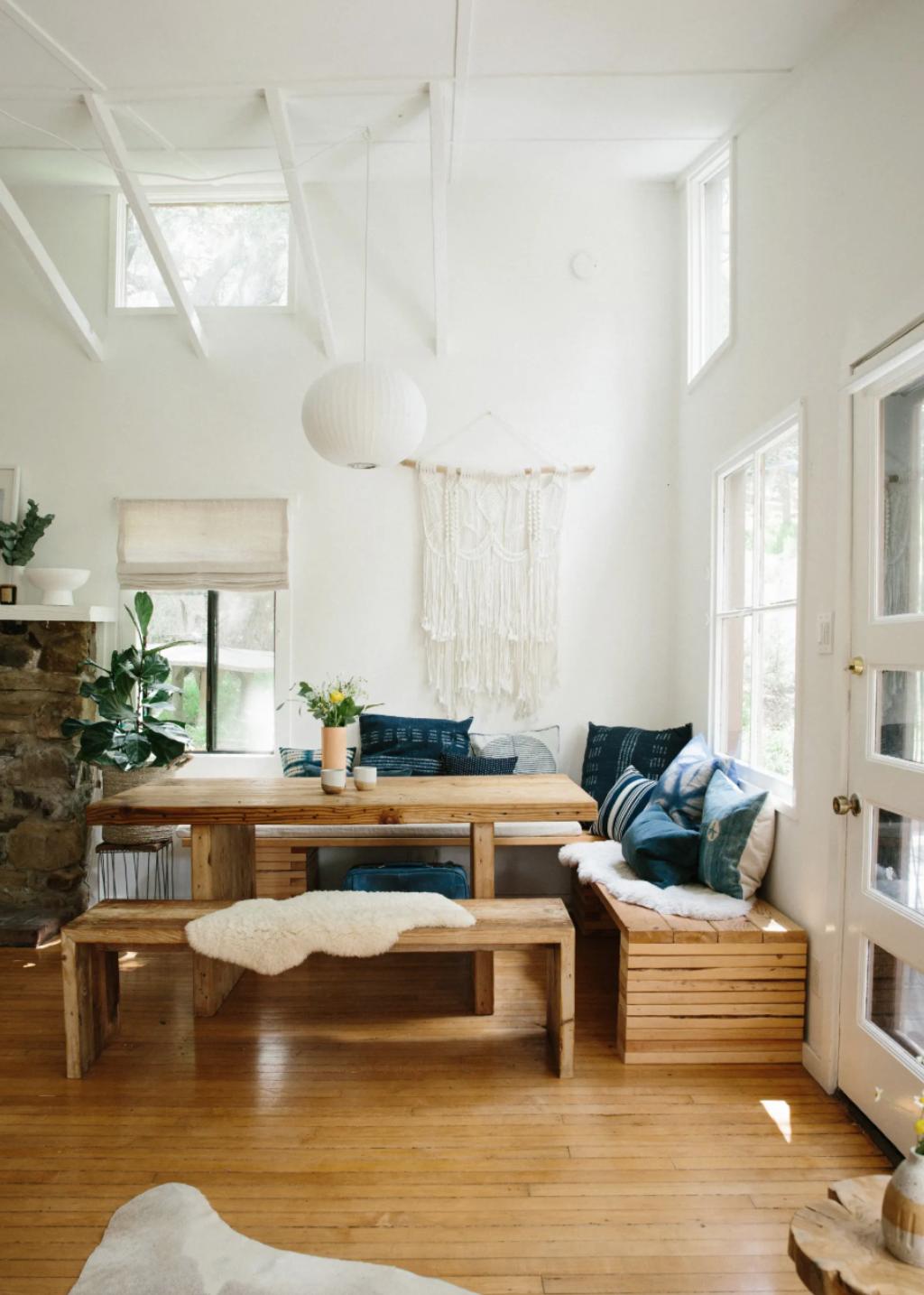 white beam open ceilings, rustic modern bohemian interiors, the modhemian, topanga homes