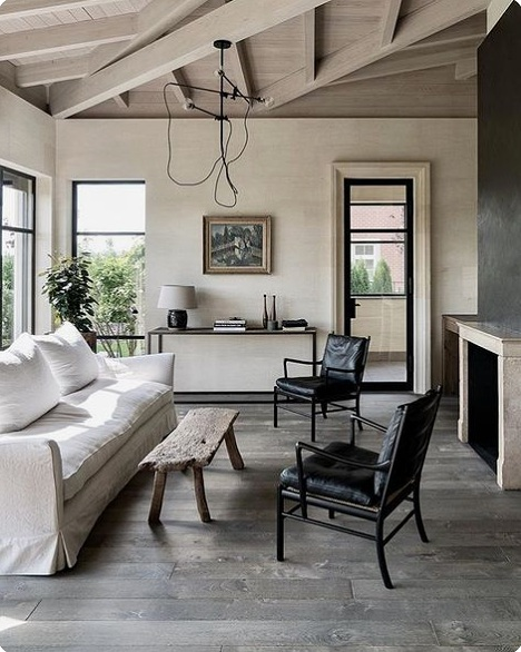 white beam open ceilings, rustic modern bohemian interiors,