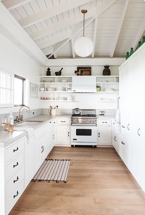 white beam open ceilings, rustic modern bohemian interiors, beach house design, white kitchen