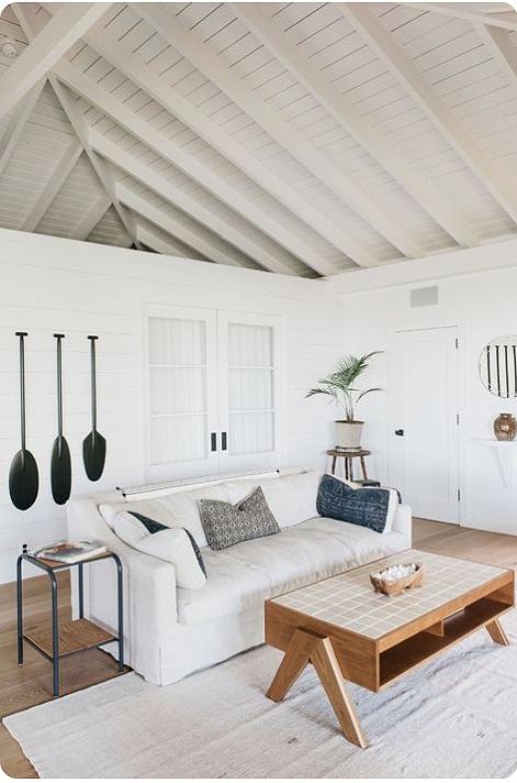white beam open ceilings, rustic modern bohemian interiors, beach house design, white interiors