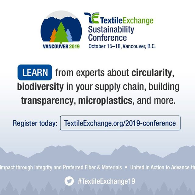 We are going to be in Vancouver at the @textileexchange conference talking about Circular Materials. We are so excited! Let us know if you'll be there too - @anniegullingsrud will be there all week ***** Join industry sustainability leaders at the 2019 Textile Sustainability Conference this Oct. 15-18 in Vancouver, Canada. See who's speaking, register and learn more: https://textileexchange.org/2019-conference/. #TextileExchange19