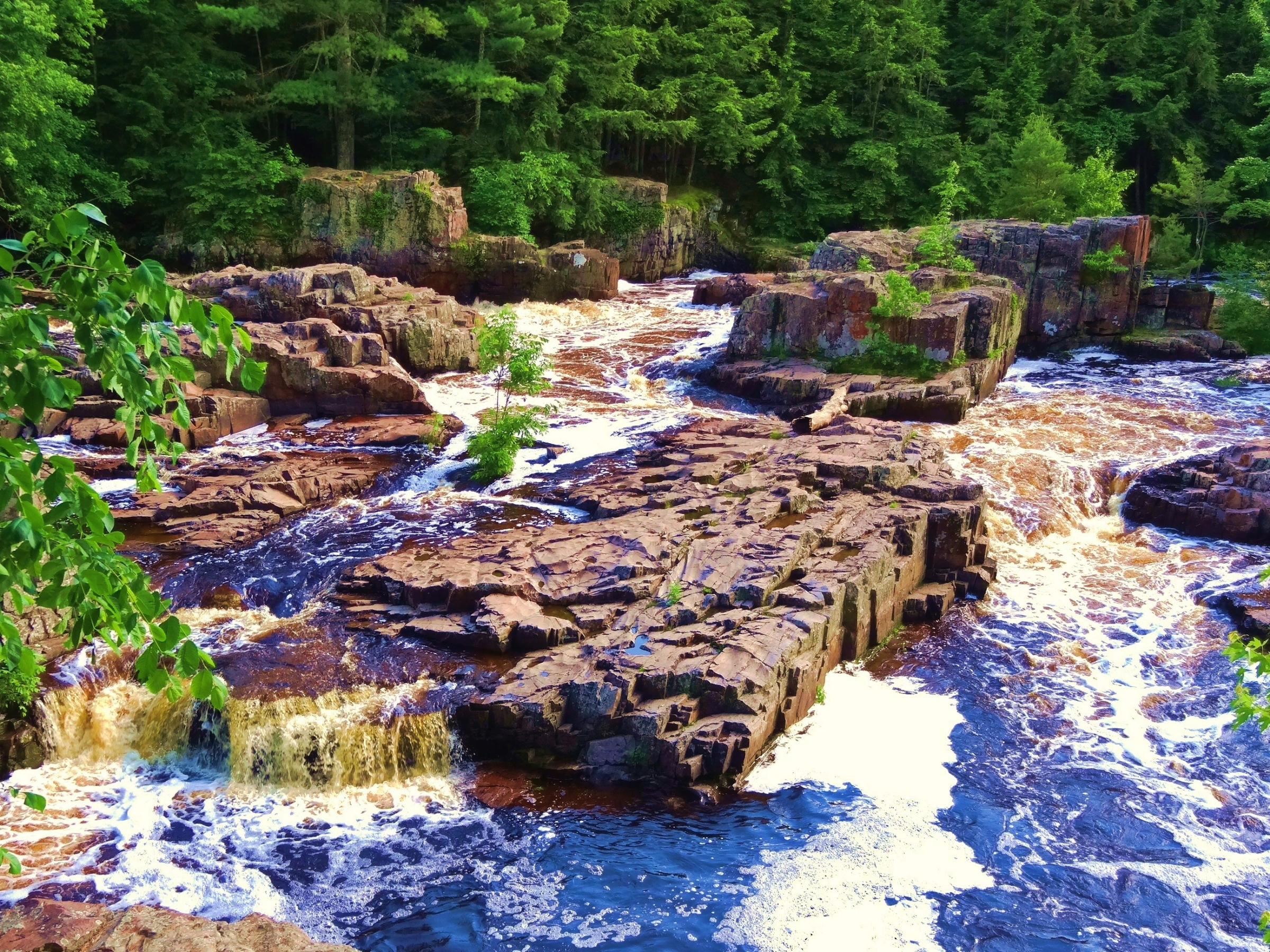 Glacial rock formations seen on the Ice Age Trail at the Eau Claire Dells.