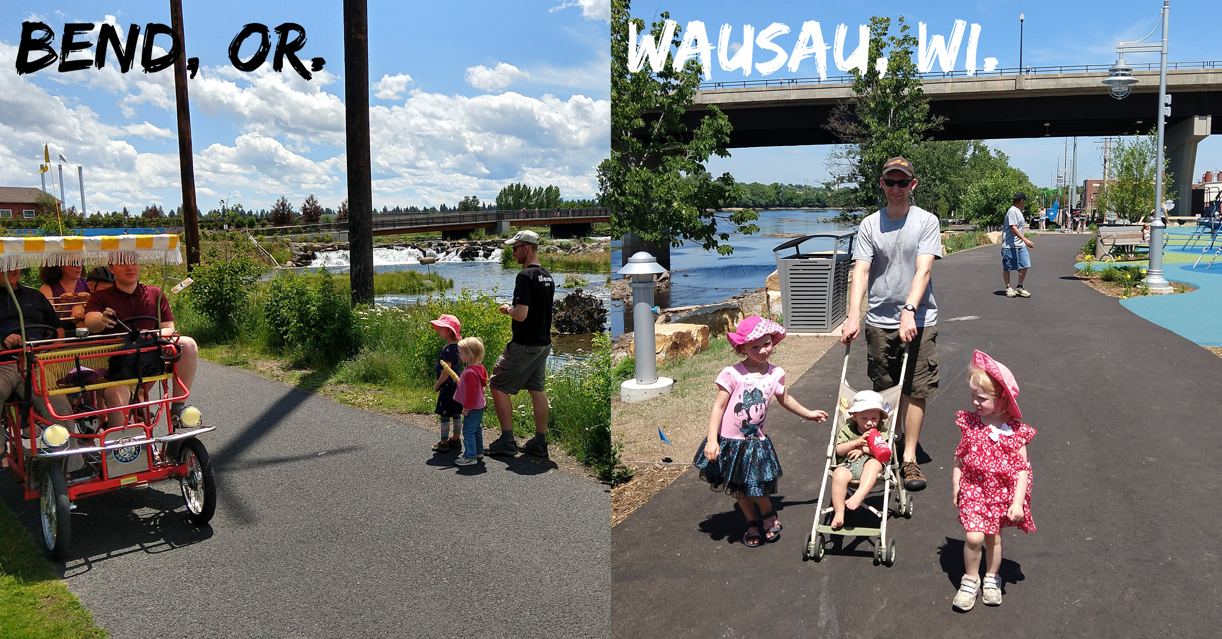 Side-by-side comparison of riverfront walking trails in Bend, Oregon and Wausau, Wisconsin.