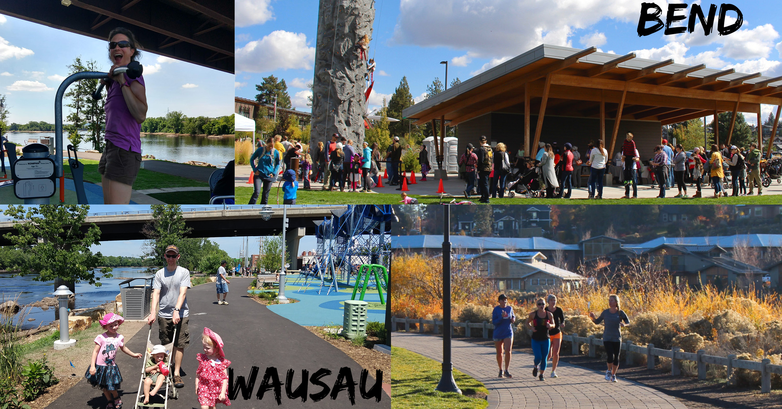 Photo comparison demonstrates the likeness of recreational outdoor activities in Bend, Oregon and Wausau, WI.
