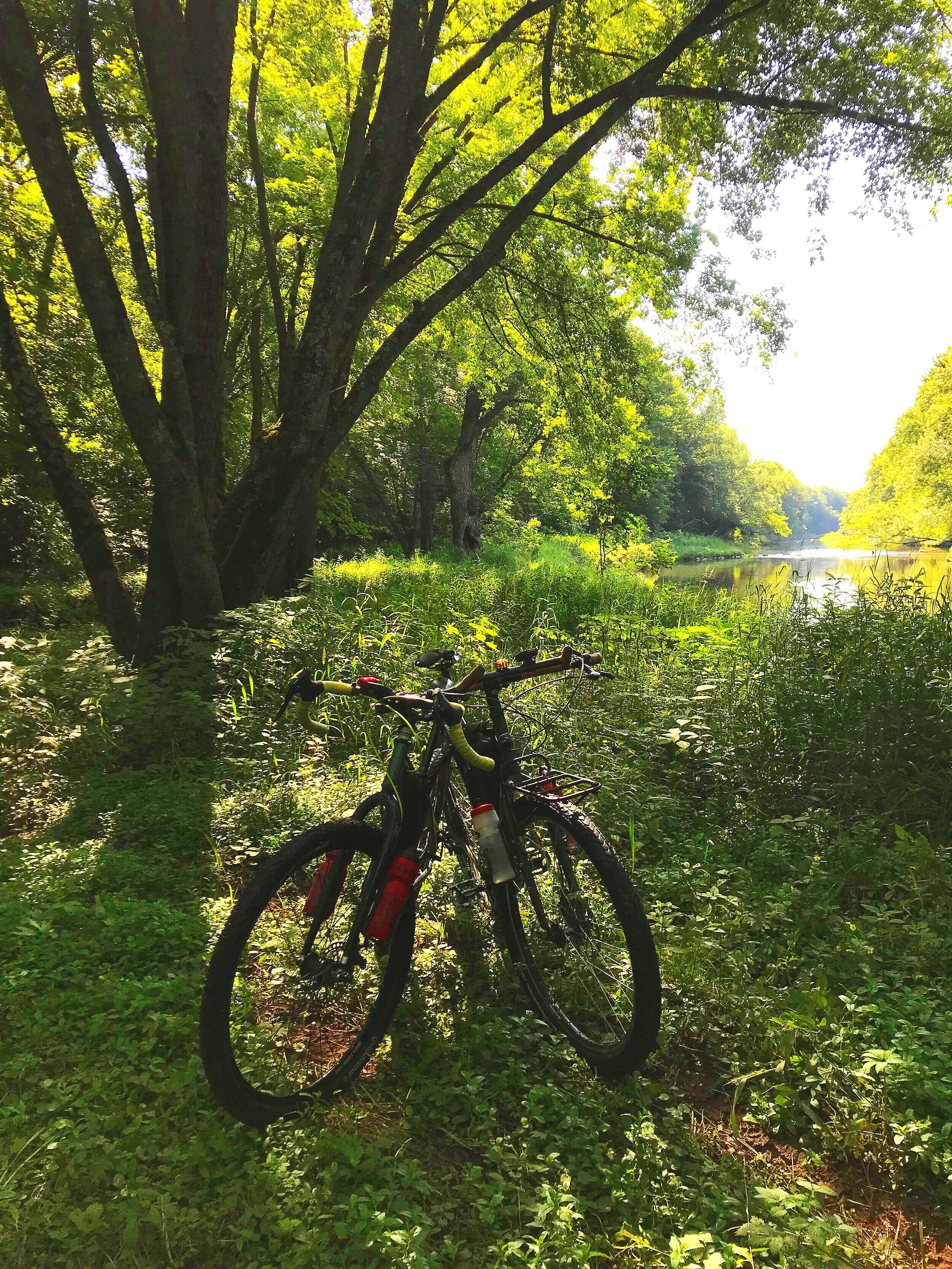 Several featured sections on the course take riders on trails, including this private land section along the Rib River.