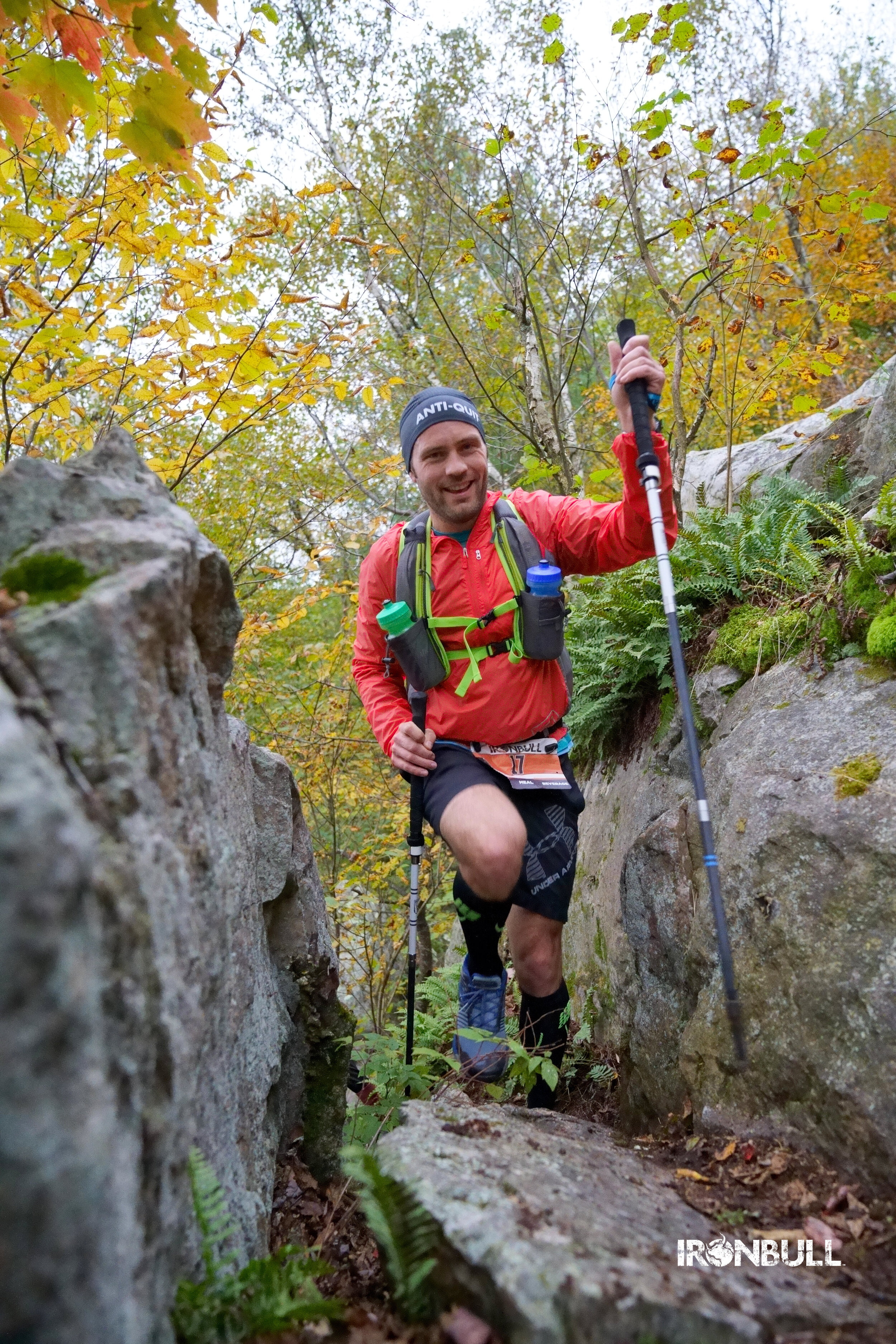 Rob Hoehn uses trekking poles to navigate the challenging terrain at Rib Mountain State Park.  Photo credit: Gregory T Photography LLC