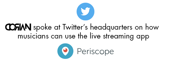 Dorian spoke at Twitter's headquarters on how musicians can use the live streaming app with Twitter icon above and Periscope logo below