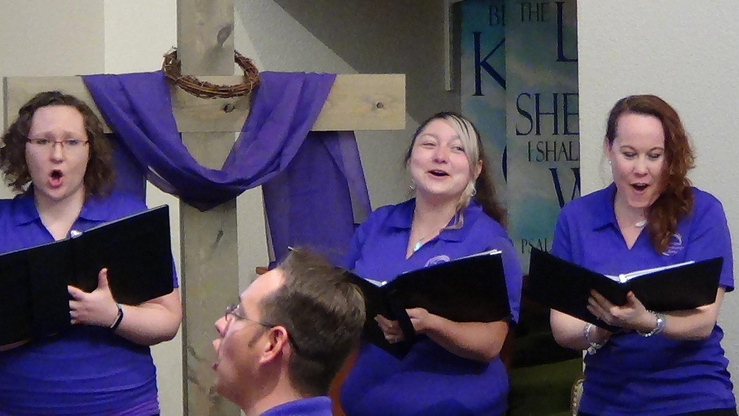 Three of our sopranos (Stacia, Destiny & Angela) having a blast singing at Covenant Village Colorado.