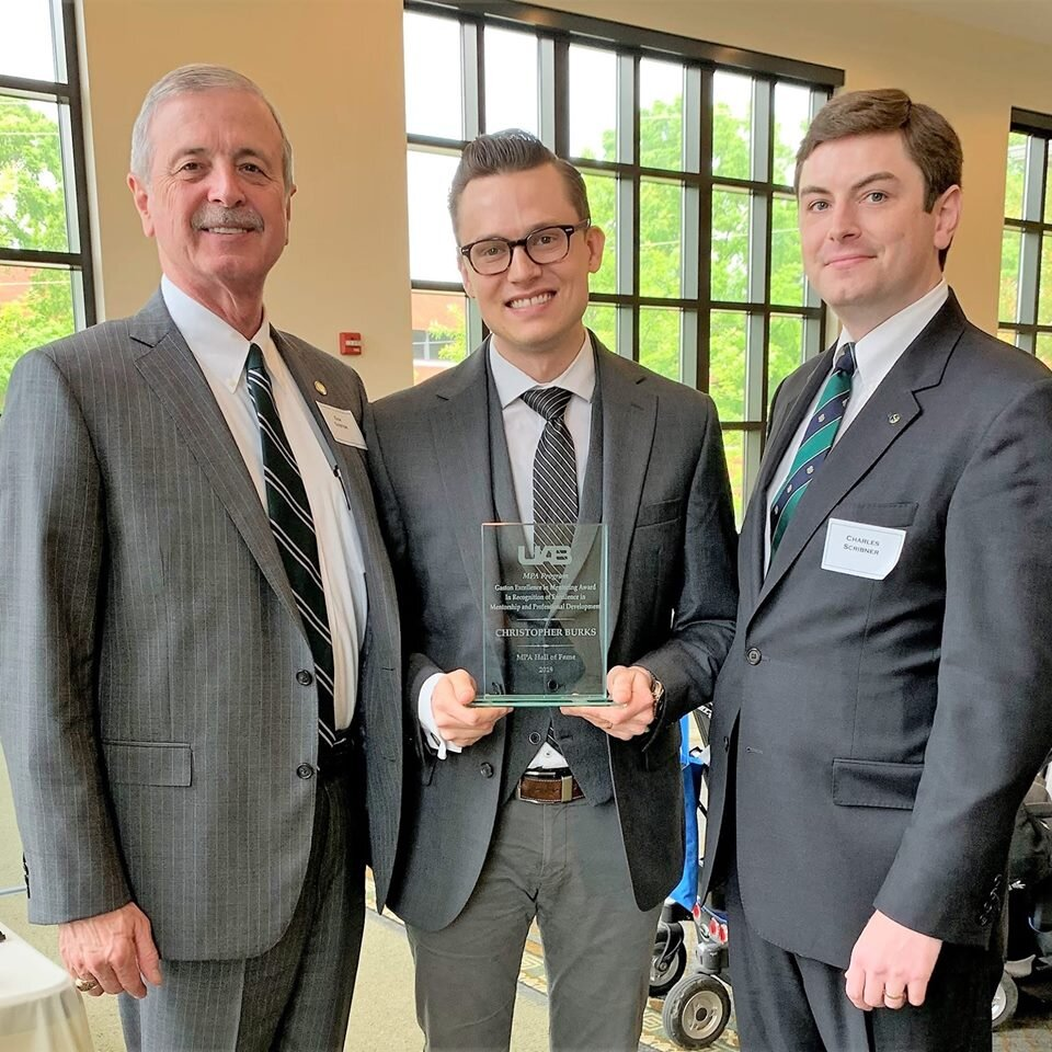 Receiving the Gaston Award for Excellence in Mentoring from the UAB Department of Political Science and Public Administration
