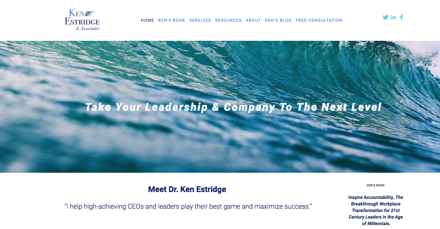 Ken's site was built with blue tones, which communicates trust, honestly and responsibility.  Click on image to enhance size.