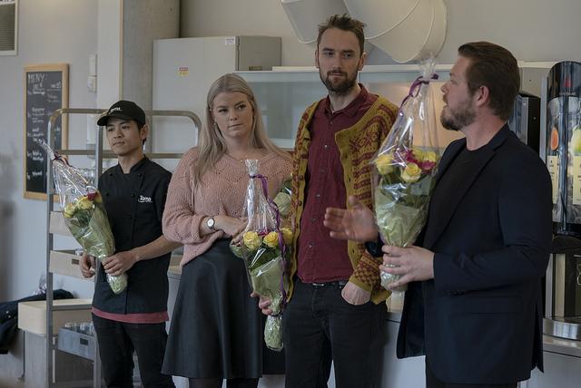 Fra venstre: Thomas Khonyong, Cecilia Lundin, Ragnvald Malkenes og Roger Urhaug, alle fra Toma.