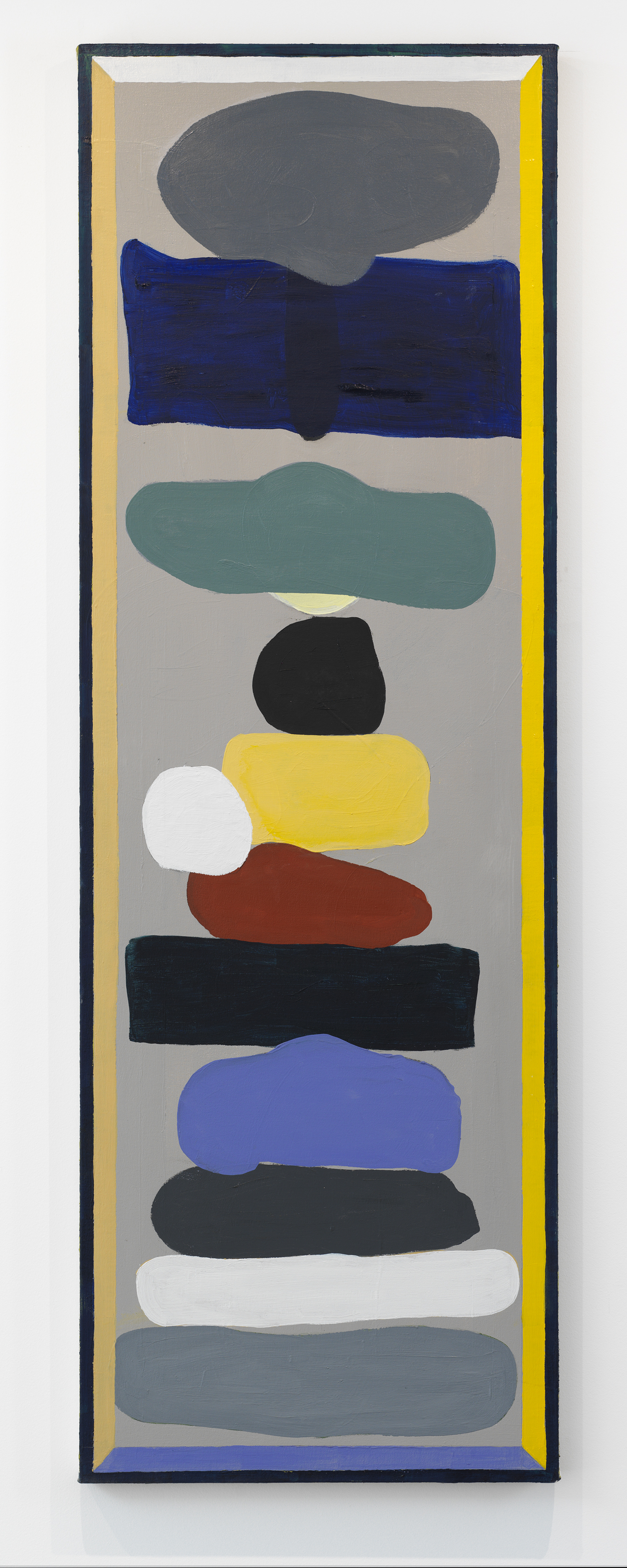 John Obuck  The Stack , 2018 Oil on canvas 22 x 58 inches
