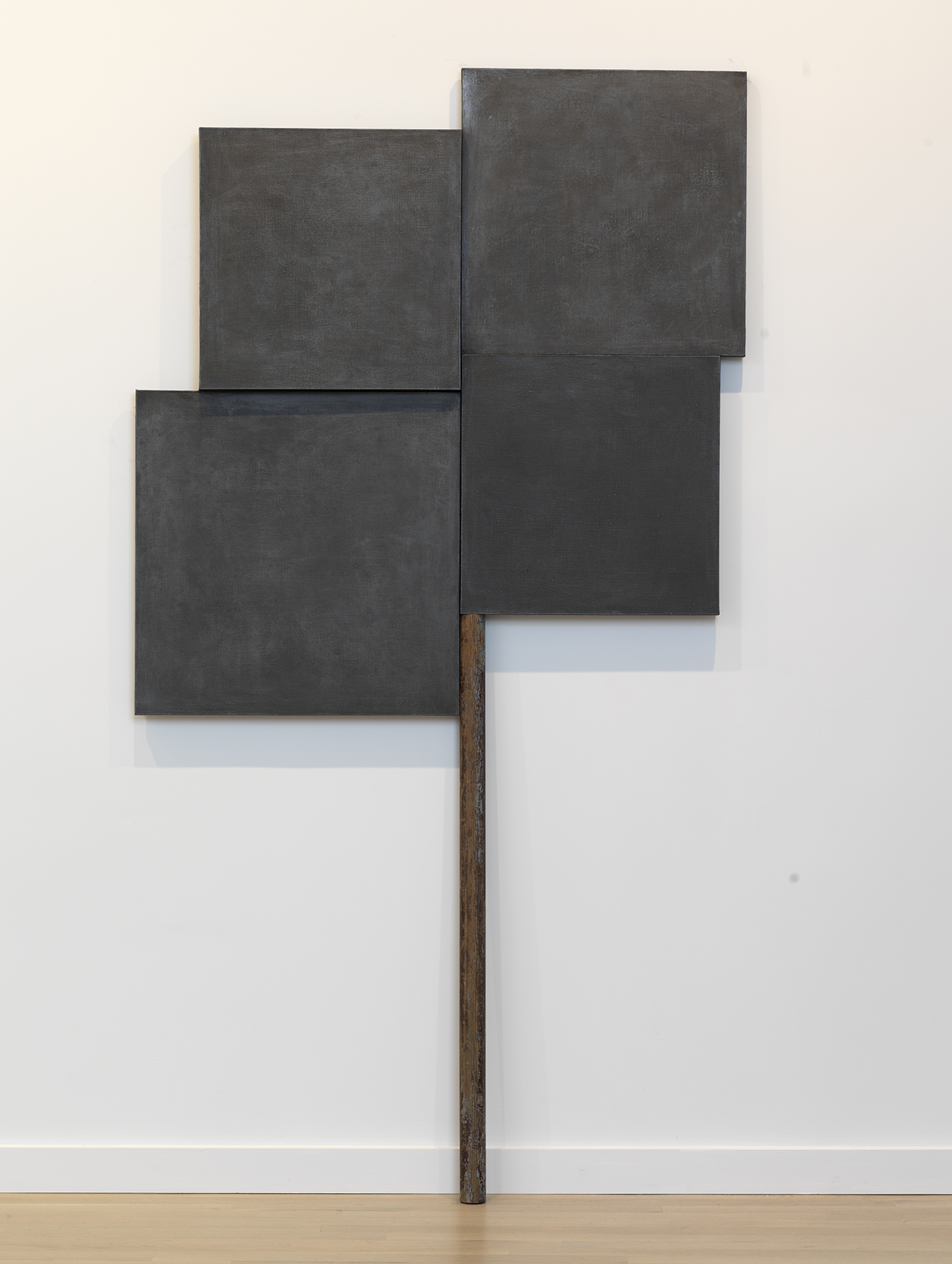 Denzil Hurley  Glyph Within, Without and About #2 , 2016-2018 Oil on canvas on panel and stick 97 x 48.5 inches