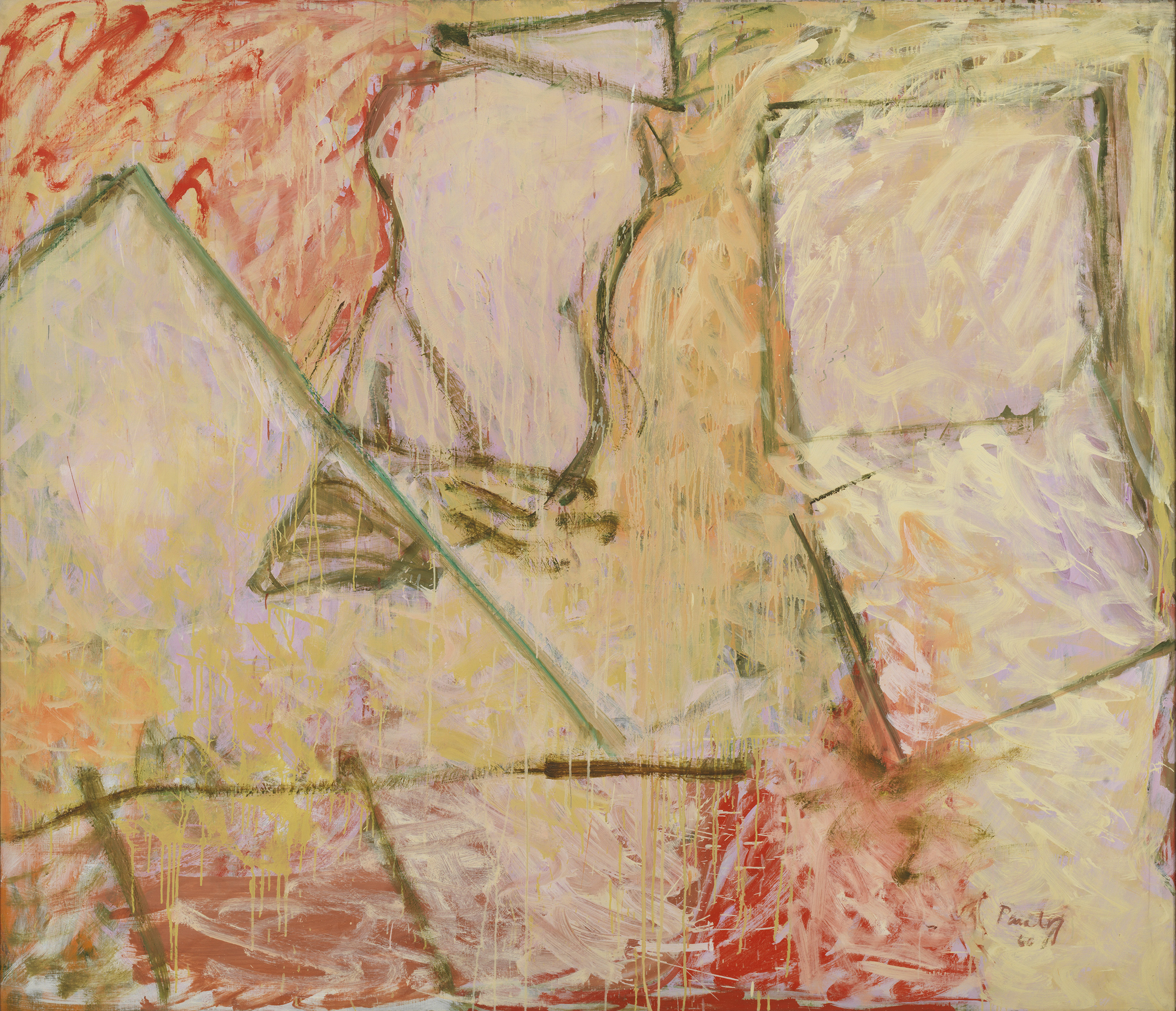 Pat Passlof  Mark's House , 1960 Oil on linen 70 x 81 inches