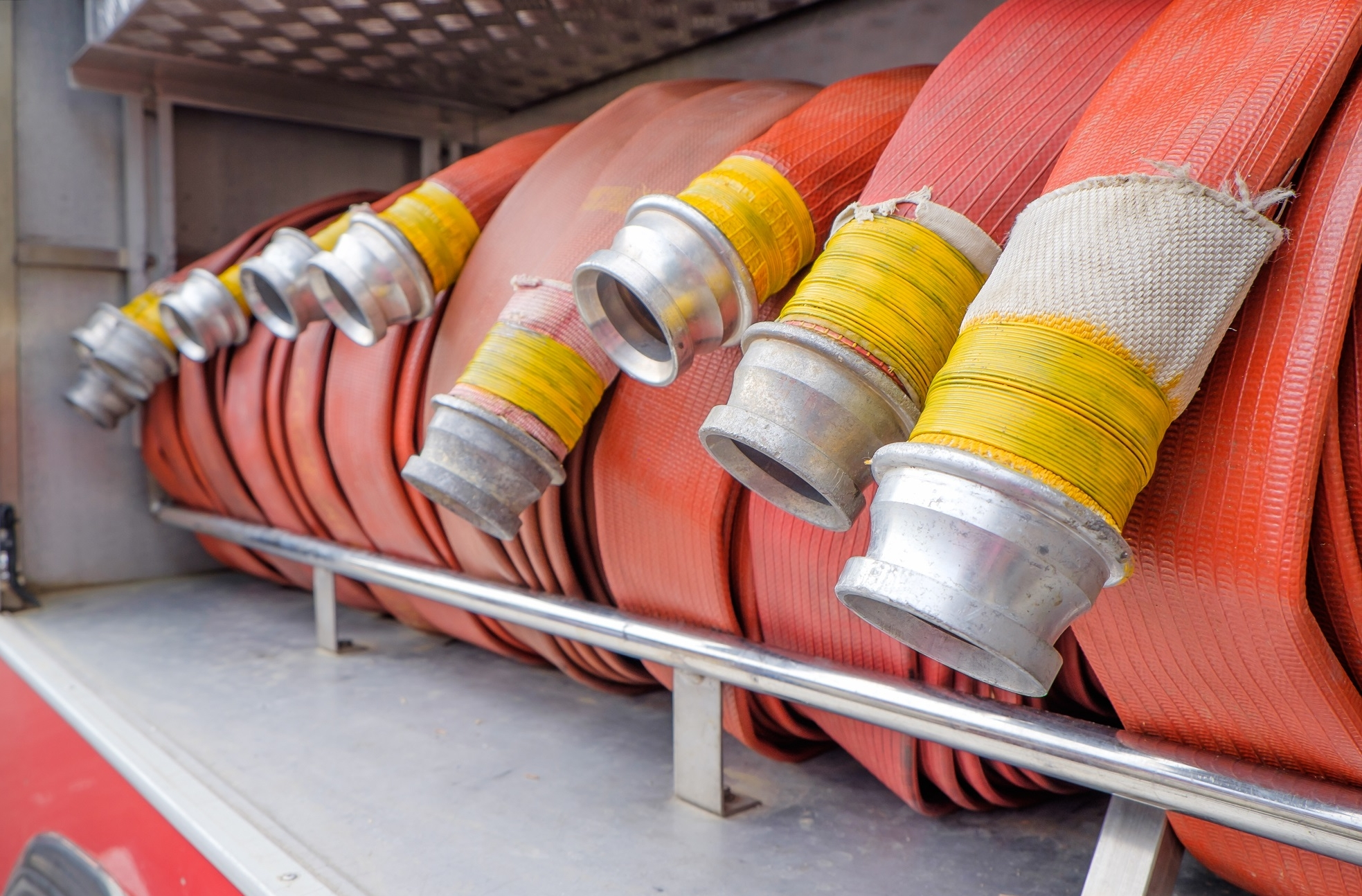 Fire hose roled into a truck