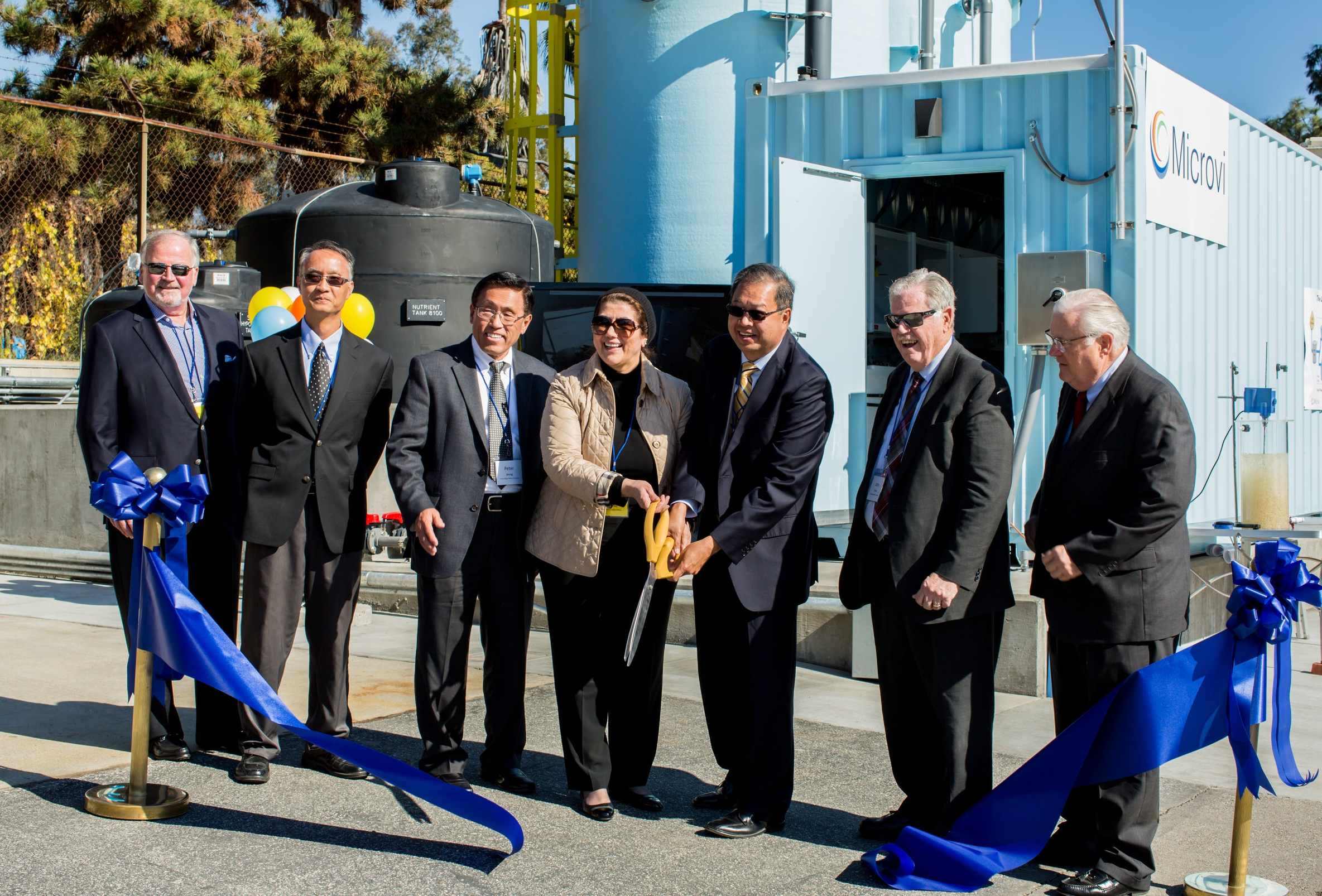 The grand opening ceremony for Microvi's nitrate-removal plant for drinking water at Sunny Slope Water Company in Pasadena, California.