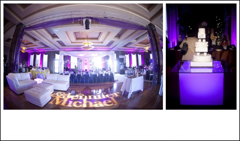 purple uplighting at DragonRidge Country Club