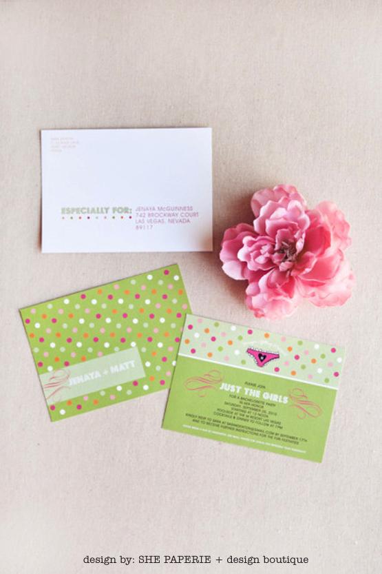 green and hot pink polka dot invitation