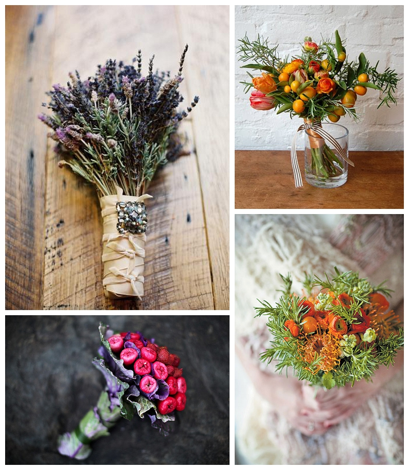 lavender-rosemary-bridal-bouquet, strawberries-macopa-purple-cabbage-rose-rosemary-and-kumquat-bouquet