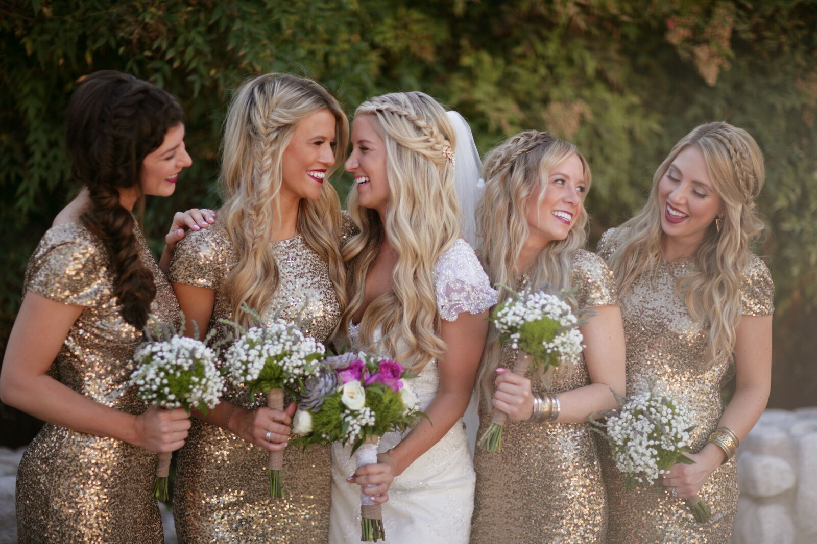 Bride and Bridesmaids in gold sequined dresses