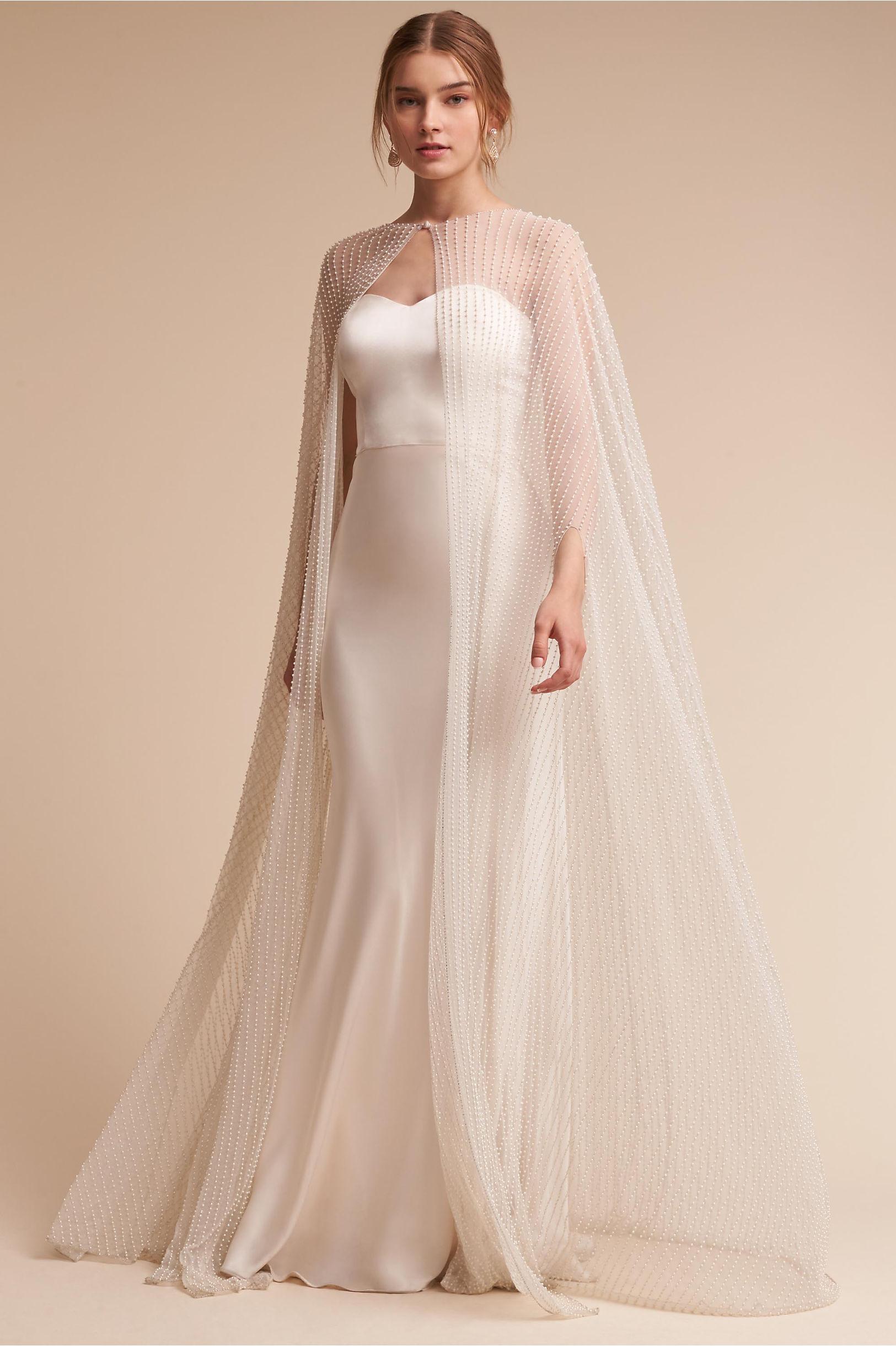 BHLDN Wedding dress and wedding cape las vegas wedding planner green orchid events