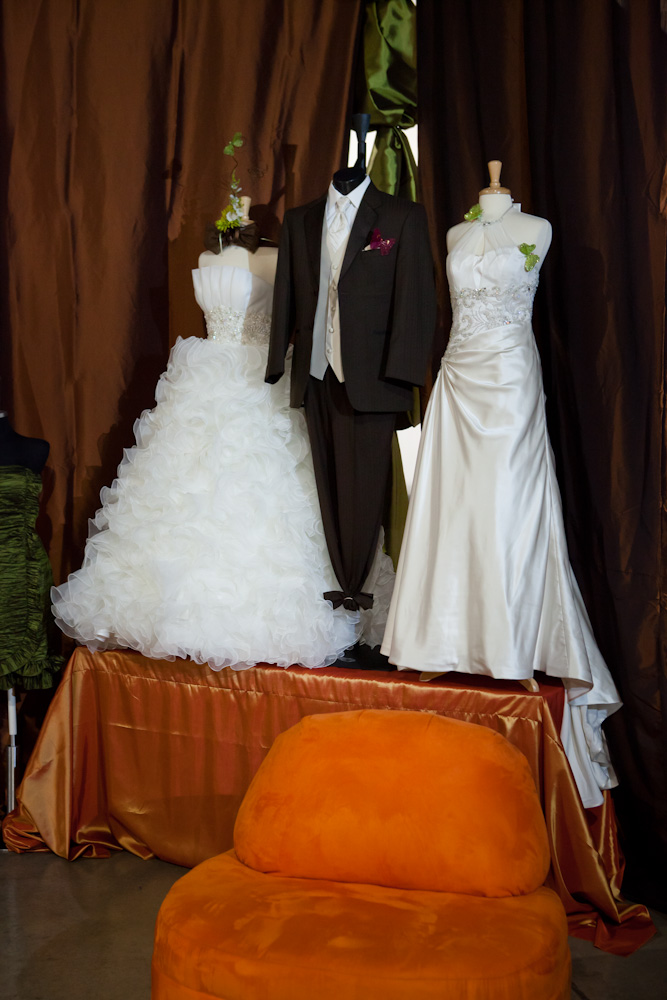bridal spectacular wedding dress and tuxedo