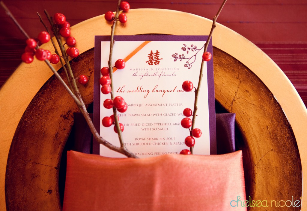 Chinese wedding banquet printed menu