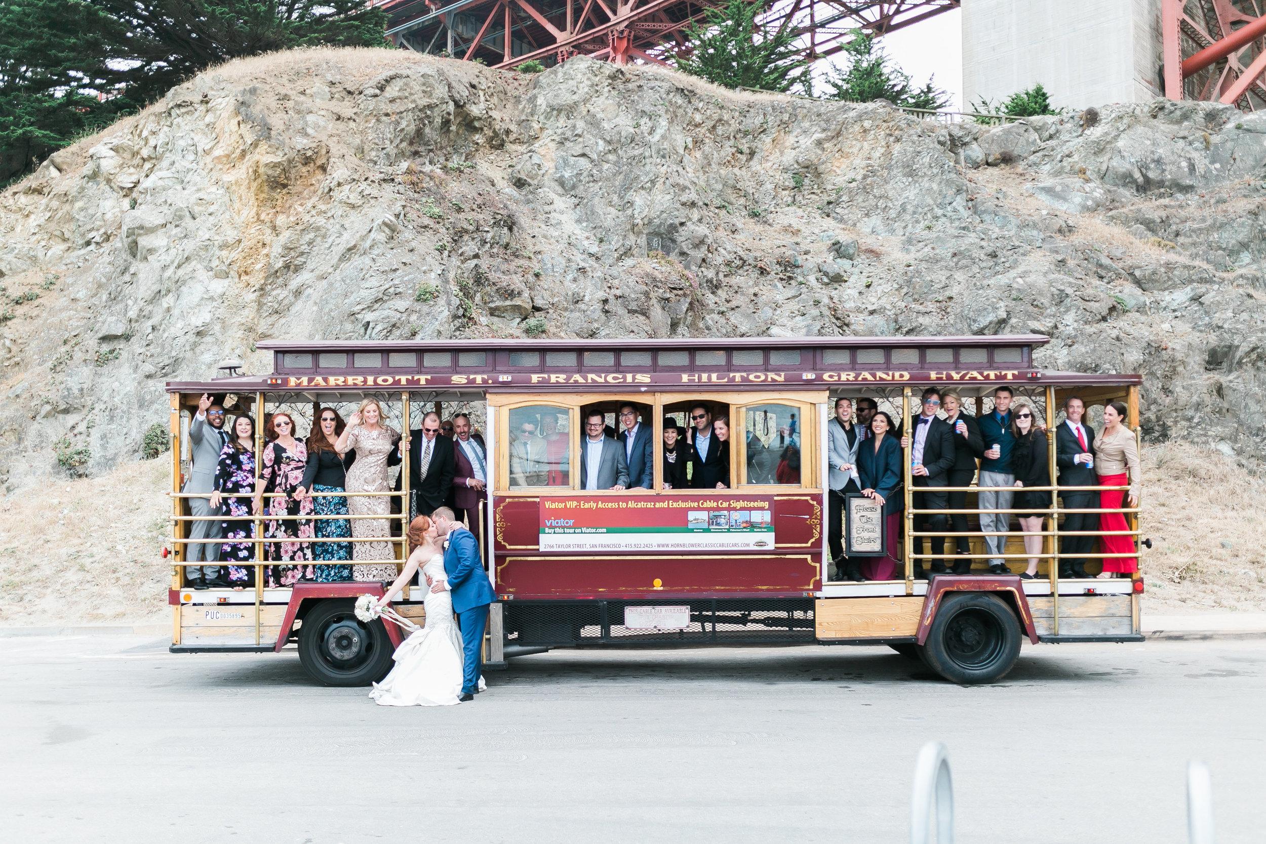 cable car san francisco wedding photo
