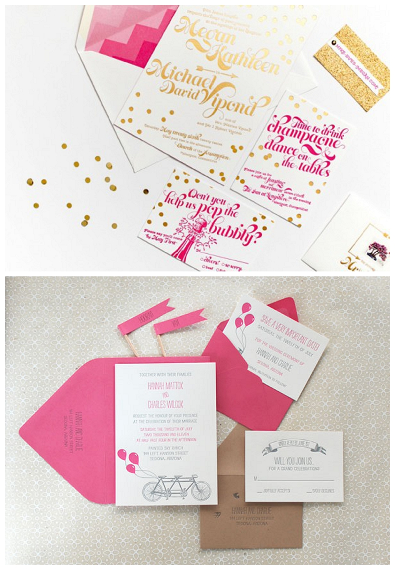 Pink-Gold-Foil-Confetti-Wedding-Invitations-Coral-Pheasant-550x381