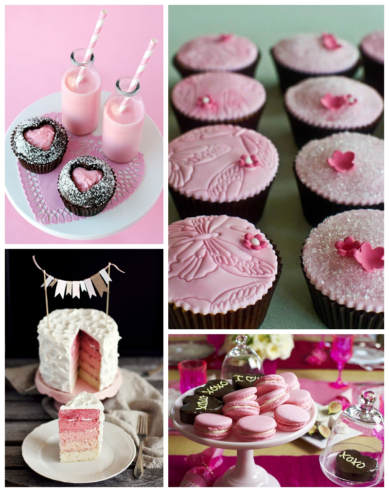 Pink valentines cupcakes and milk, pink ombre cake