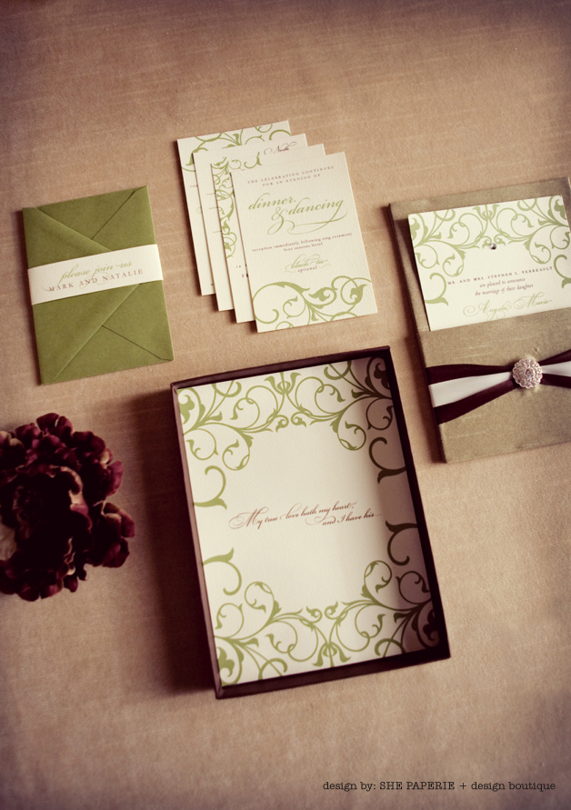 green and brown fall wedding invitation suite in box