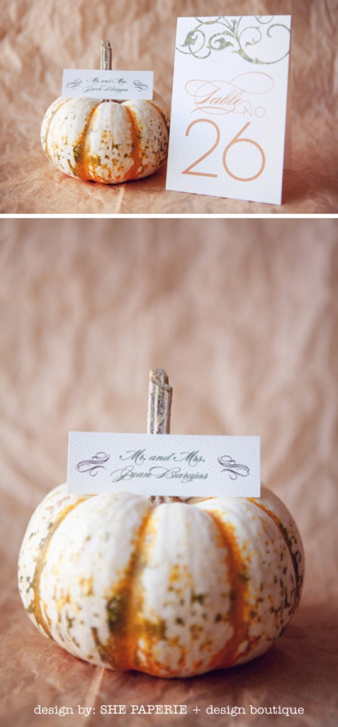 table number and place card with pumpkin