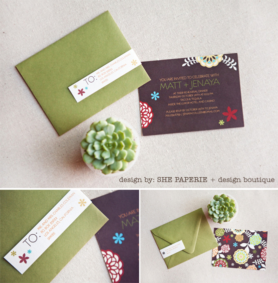 brown and green bold rehearsal dinner invitation