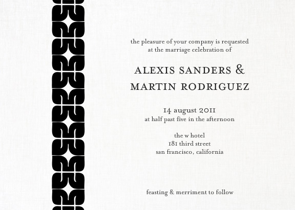 black and white cocodot invitation