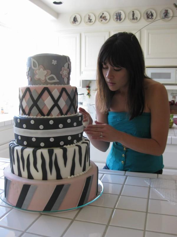 black, white, pink cake with zebra print