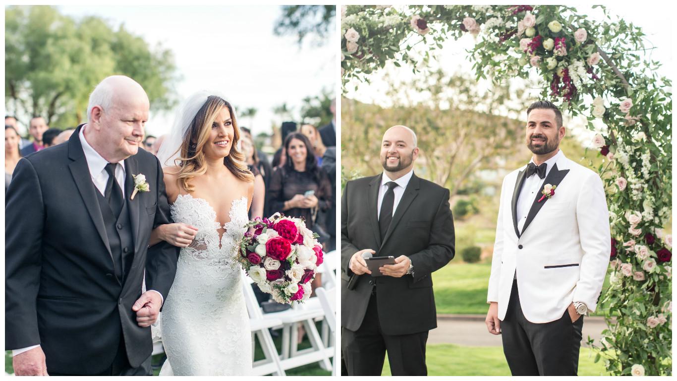 wedding ceremony, blush pink wedding, burgundy wedding, ceremony decor, las vegas wedding planner green orchid events