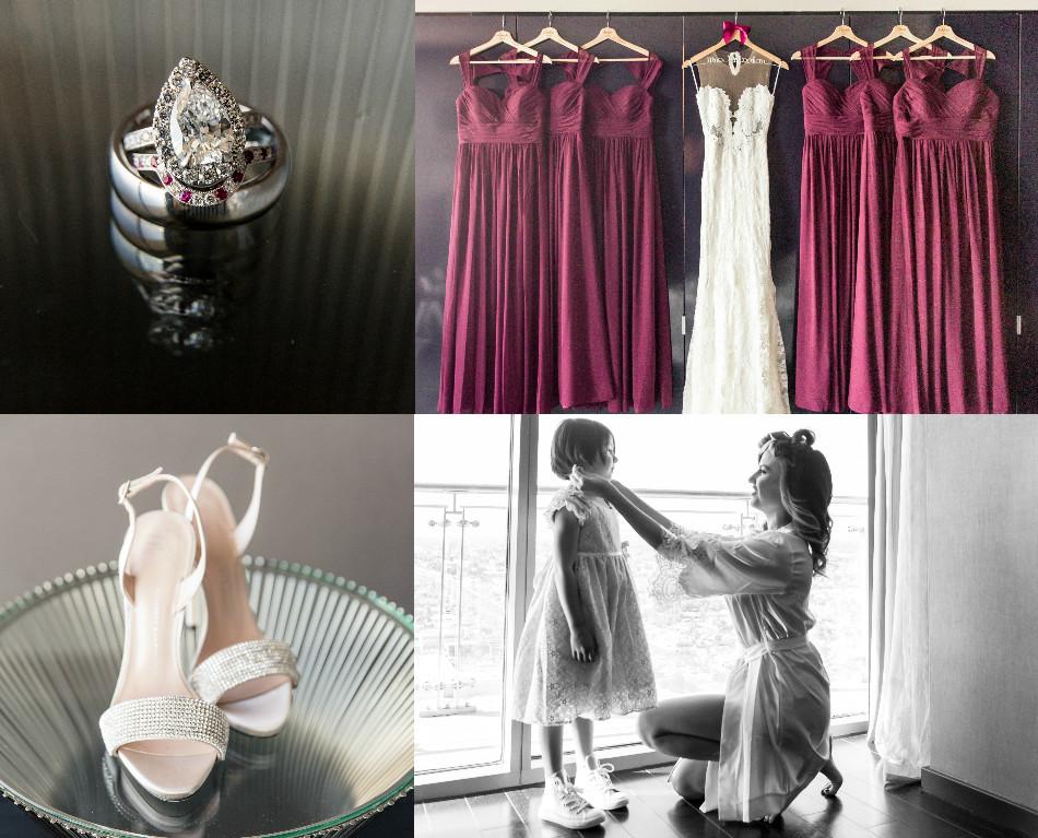 wedding rings, bridesmaid dresses, burgundy dresses, guiseppe zanotti shoes, wedding shoes