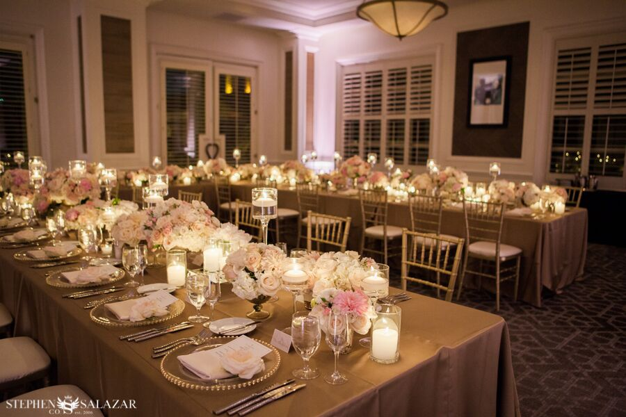 candle light and lush centerpieces wedding reception