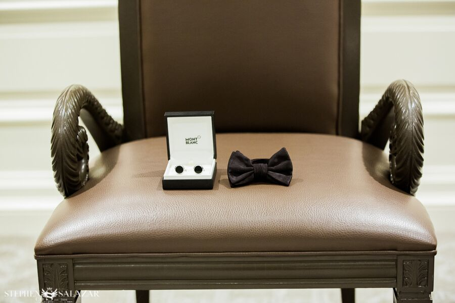 cuff links and bow tie groom