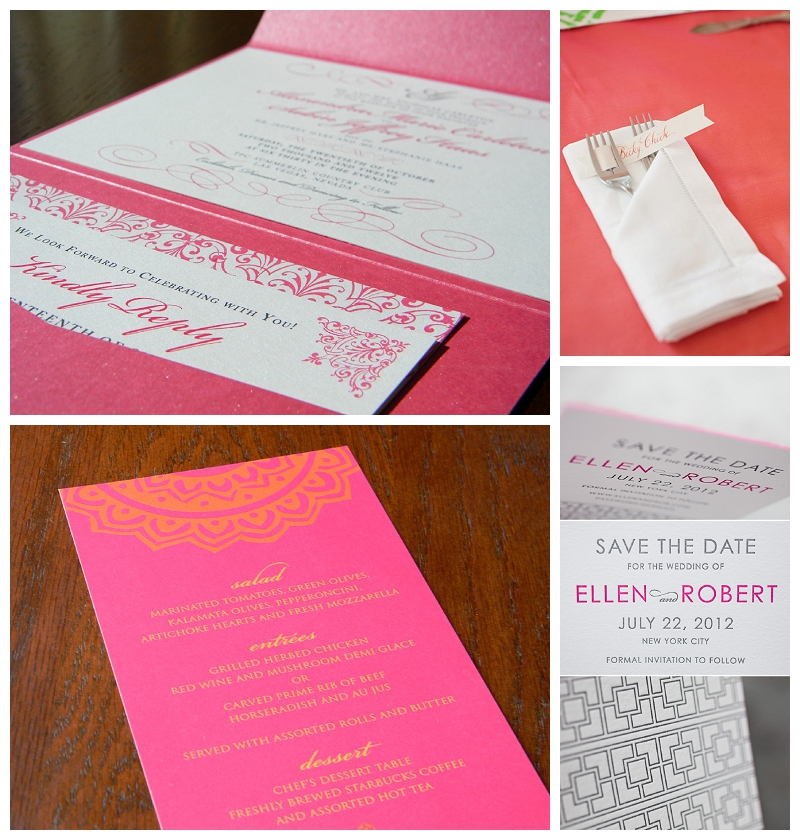 hot pink letterpress stationery