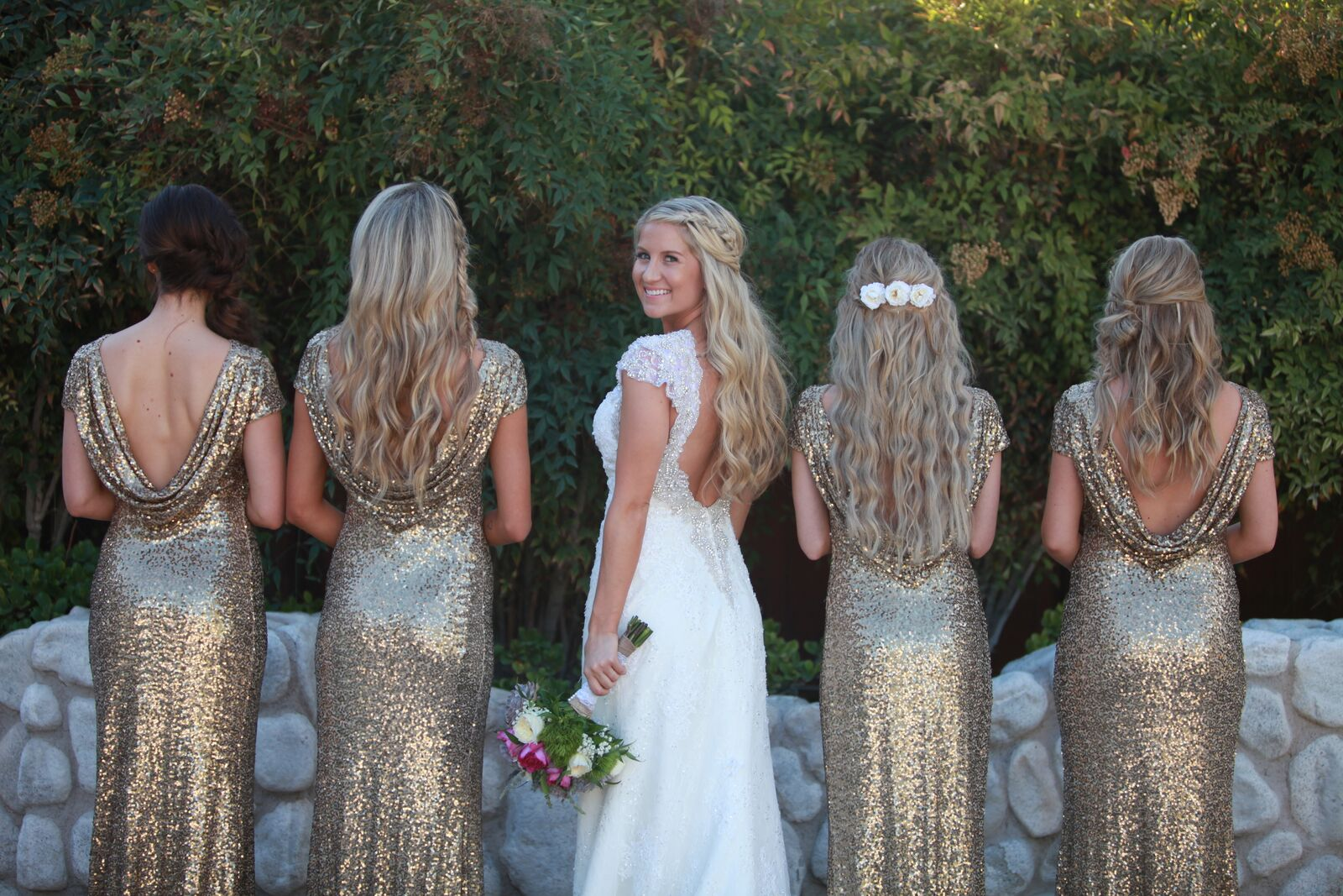 Bride and Bridesmaids wedding day in gold sequined dresses