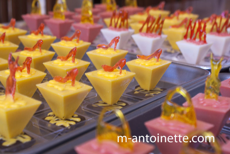 petit fours with sugar glass shoes and handbags
