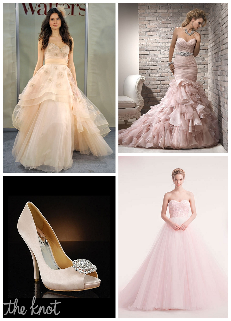 pink wedding dress gown, badgley mischka heels