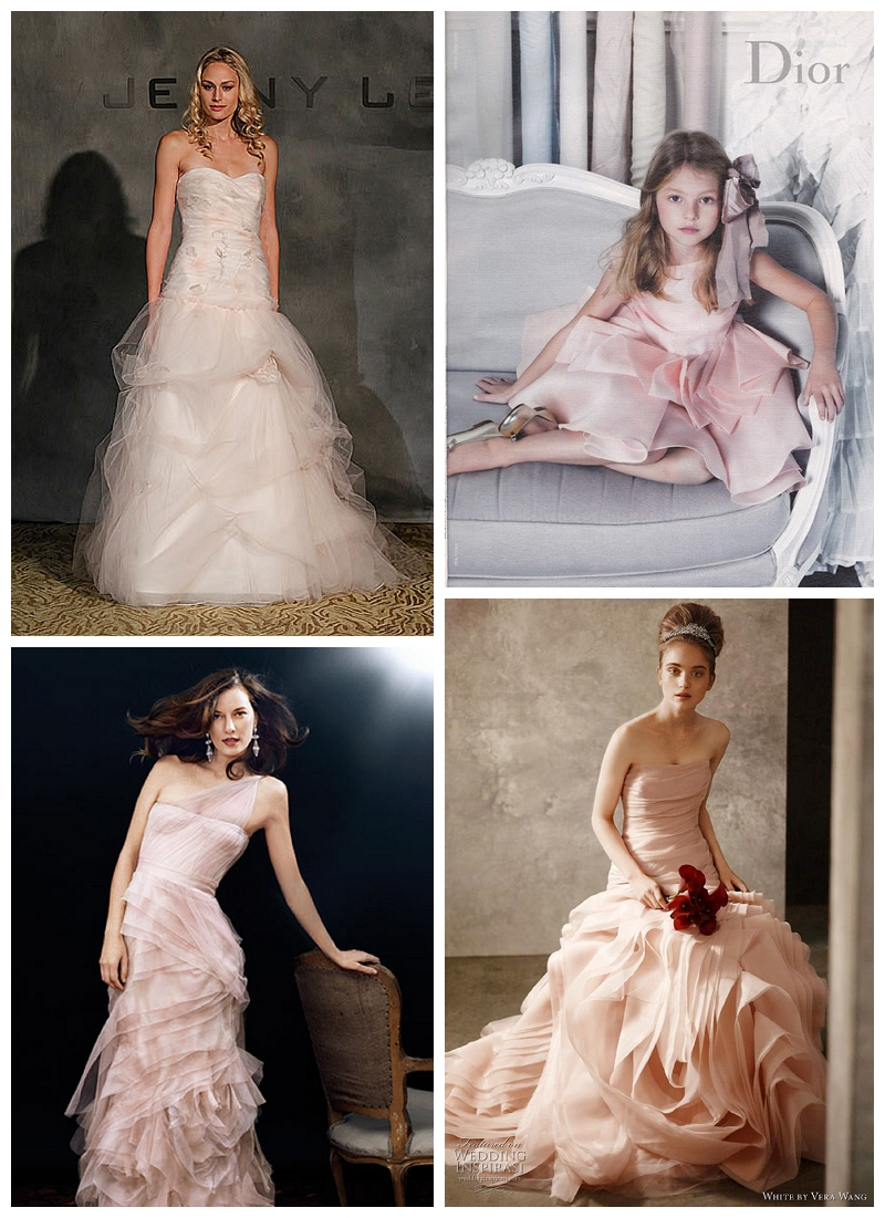 pink wedding dress, pink dior flower girl dress