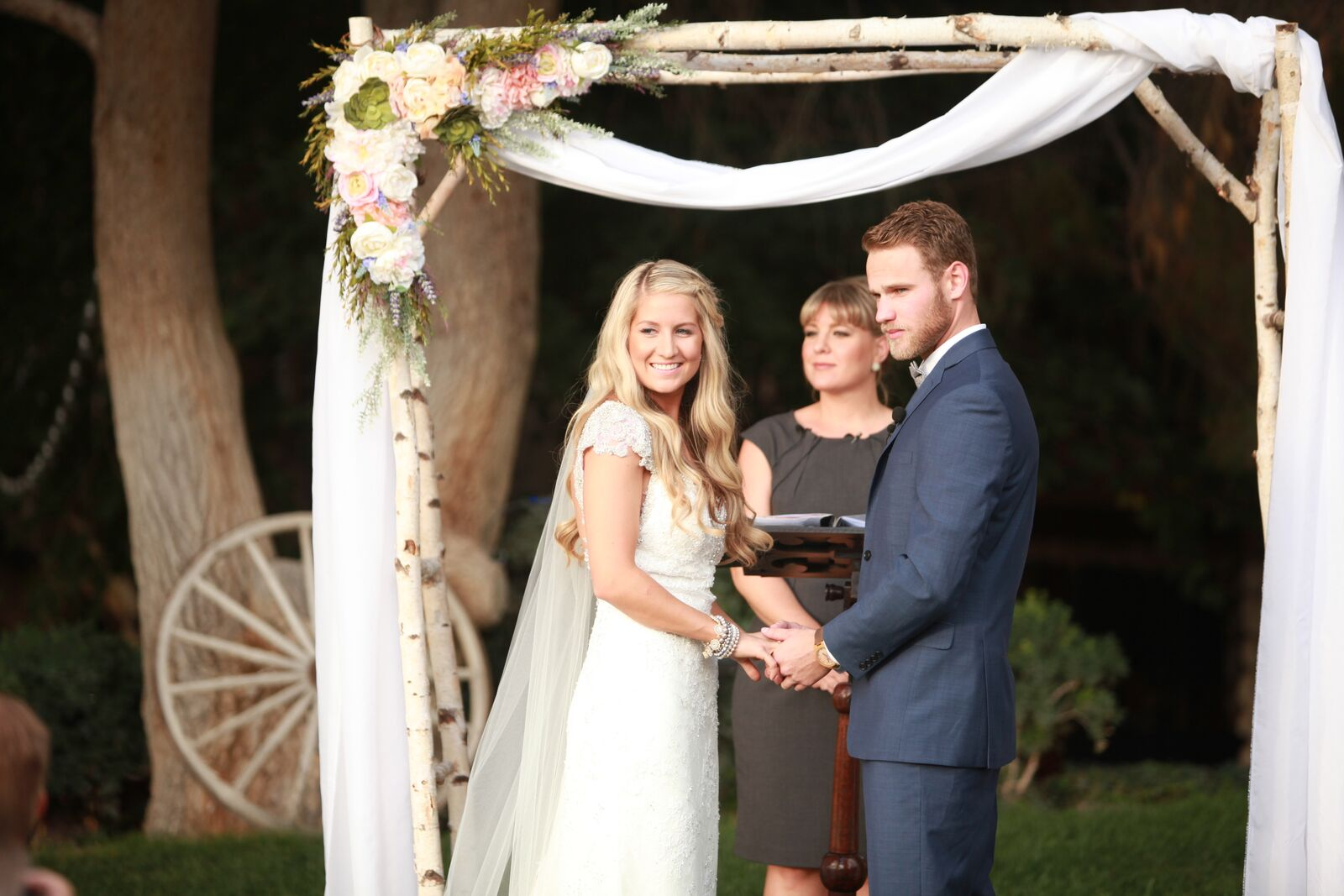 Wedding Ceremony at Legends Ranch. Bride and groom during romantic ceremony